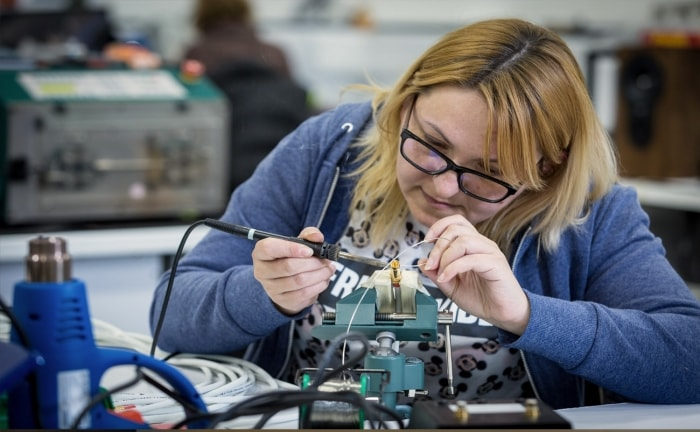 CNC wiring department at the Rega factory