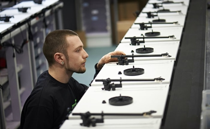 Turntable production at the Rega factory