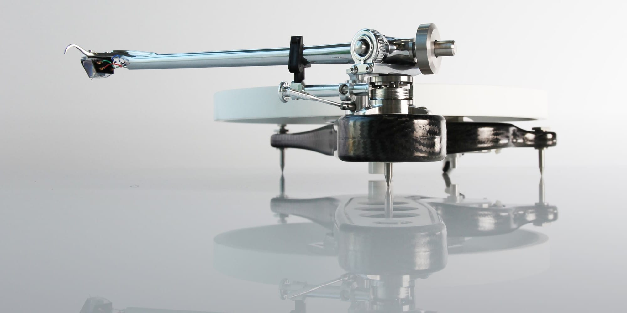 A side-view of Rega's Naiad turntable.