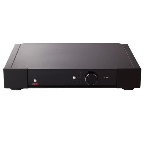 Rega's Elex-R Integrated Amplifier with a full-width casing.