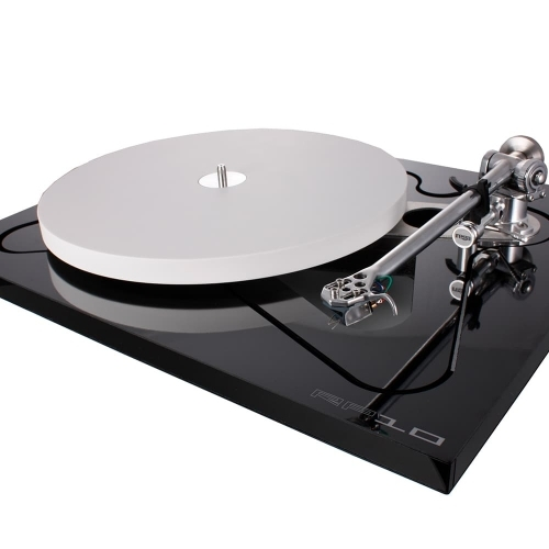 Rega's RP10 Turntable with a skeletal plinth and ceramic platter.